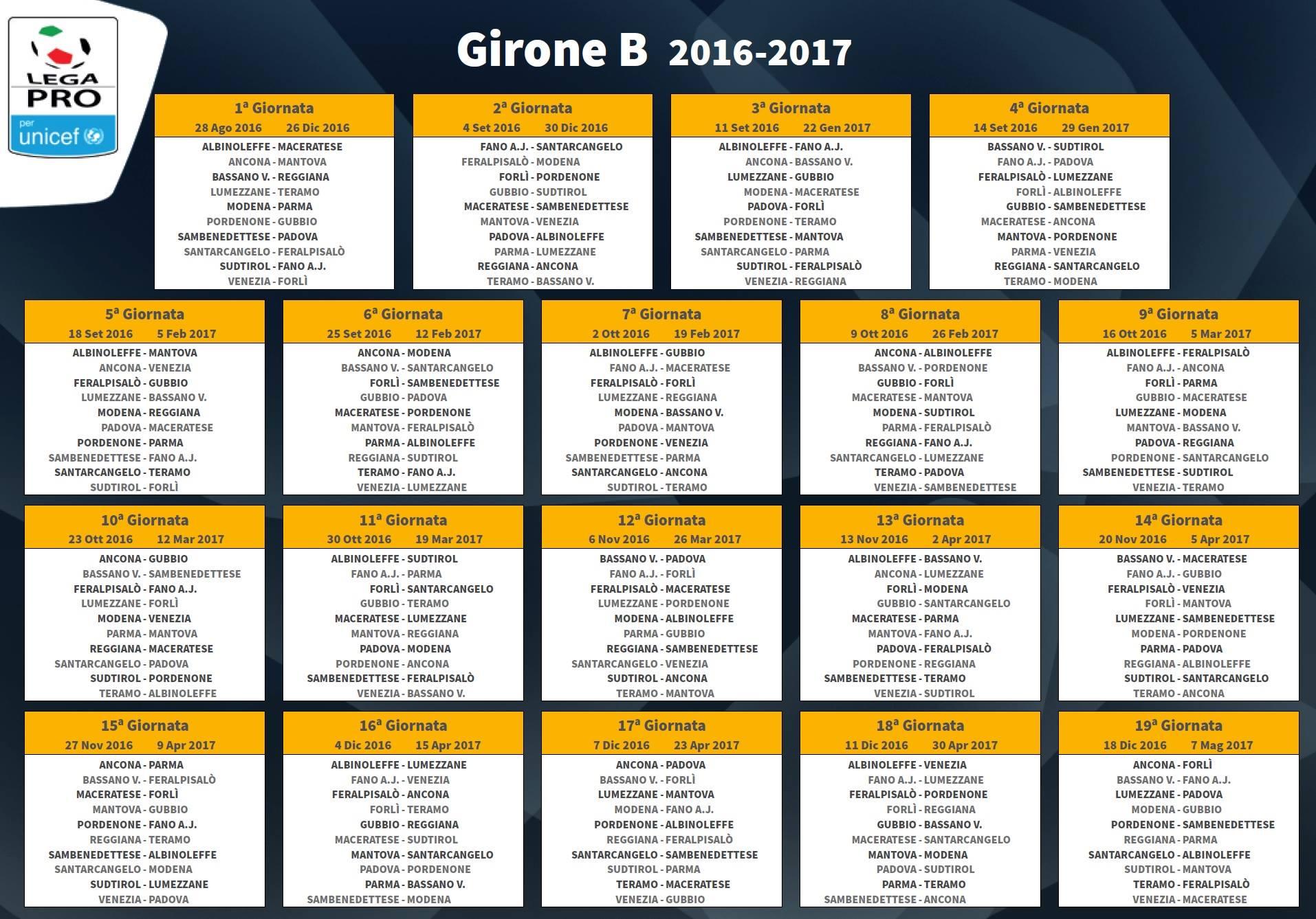 Calendario Lega Pro Girone B Orari.Calendari Lega Pro La Diretta Esordio A San Benedetto Del
